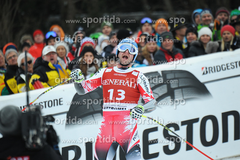 23.01.2015, Streif, Kitzbuehel, AUT, FIS Ski Weltcup, Supercombi Super G, Herren, im Bild Georg Streitberger (AUT) // Georg Streitberger of Austria reacts after his run of the men's Super Combined Super-G of Kitzbuehel FIS Ski Alpine World Cup at the Streif Course in Kitzbuehel, Austria on 2015/01/23. EXPA Pictures © 2015, PhotoCredit: EXPA/ Erich Spiess