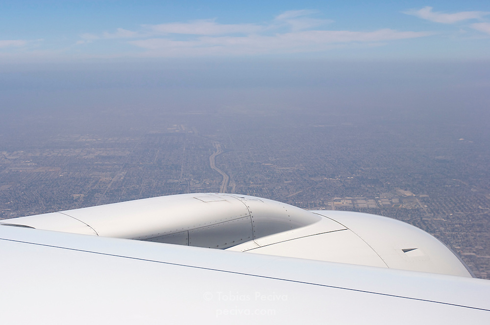 Aerial view of Los Angeles, looking out the window of a flight bound for LAX.