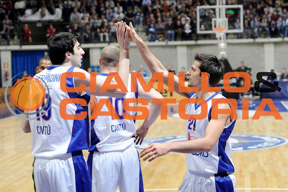 DESCRIZIONE : Desio Eurolega 2011-12 Bennet Cantu Zalgiris Kaunas<br /> GIOCATORE : Giorgi Shermadini Andrea Cinciarini<br /> CATEGORIA : esultanza<br /> SQUADRA : Bennet Cantu<br /> EVENTO : Eurolega 2011-2012<br /> GARA : Bennet Cantu Zalgiris Kaunas<br /> DATA : 25/01/2012<br /> SPORT : Pallacanestro <br /> AUTORE : Agenzia Ciamillo-Castoria/C.De Massis<br /> Galleria : Eurolega 2011-2012<br /> Fotonotizia : Desio Eurolega 2011-12 Bennet Cantu Zalgiris Kaunas<br /> Predefinita :