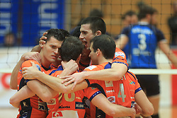 Team ACH (left Davor Cebron, right Mitja Gasparini)at finals of Slovenian volleyball cup between OK ACH Volley and OK Salonit Anhovo Kanal, on December 27, 2008, in Nova Gorica, Slovenia. ACH Volley won 3:2.(Photo by Vid Ponikvar / SportIda).