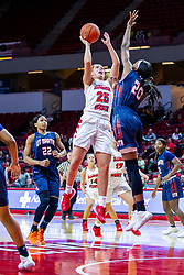 NORMAL, IL - November 30: Lexi Wallen puts up a shot while defended by Chelsey Perry during a college women's basketball game between the ISU Redbirds and the Skyhawks of UT-Martin November 30 2019 at Redbird Arena in Normal, IL. (Photo by Alan Look)