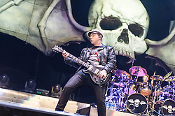 © Licensed to London News Pictures. 01/12/2013. London, UK.   Avenged Sevenfold performing live at Wembley Arena. In this pic - Zacky Vengeance (left), Arin Ilejay (right). The band is also known as A7X and consists of members M. Shadows (lead vocals), Zacky Vengeance (rhythm guitar/vocals),  Synyster Gates (lead guitar/vocals),Johnny Christ (bass) and Arin Ilejay (drums).  Photo credit : Richard Isaac/LNP