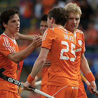 DEN HAAG - Rabobank Hockey World Cup<br /> 30 New Zealand - Netherlands<br /> Foto: Wouter Jolie (left), Seve van Ass and Klaas Vermeulen (right).<br /> COPYRIGHT FRANK UIJLENBROEK FFU PRESS AGENCY