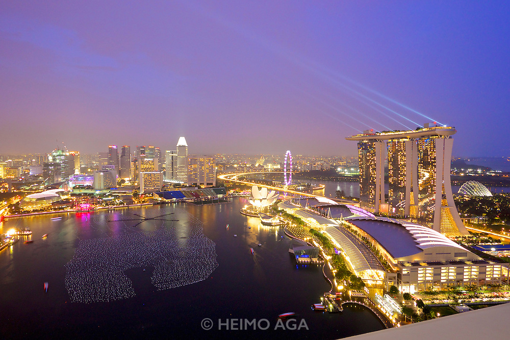 """Singapore. Level 33 Restaurant & Lounge offers """"experimental penthouse dining in the World's highest urban craft-brewery."""" Great place to watch Marina Bay Sand's free light and water show"""