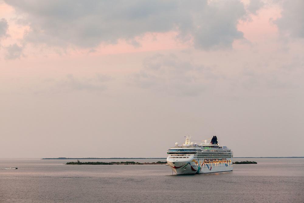Cruise ship underway off coast of Mexico.