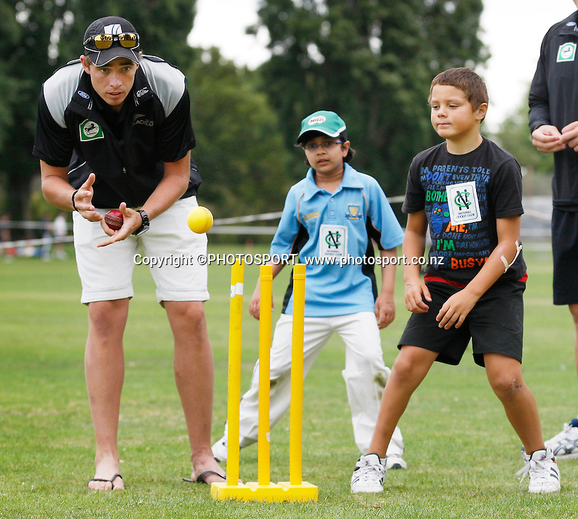 Tim Southee joins in the game during the intermediate bowling practice during the National Bank Super Camp, a National Bank initiative to connect with cricket's grass roots. Held at the East Shirley Cricket Club, Christchurch, New Zealand. Thursday, 27 January 2011. Joseph Johnson / PHOTOSPORT.