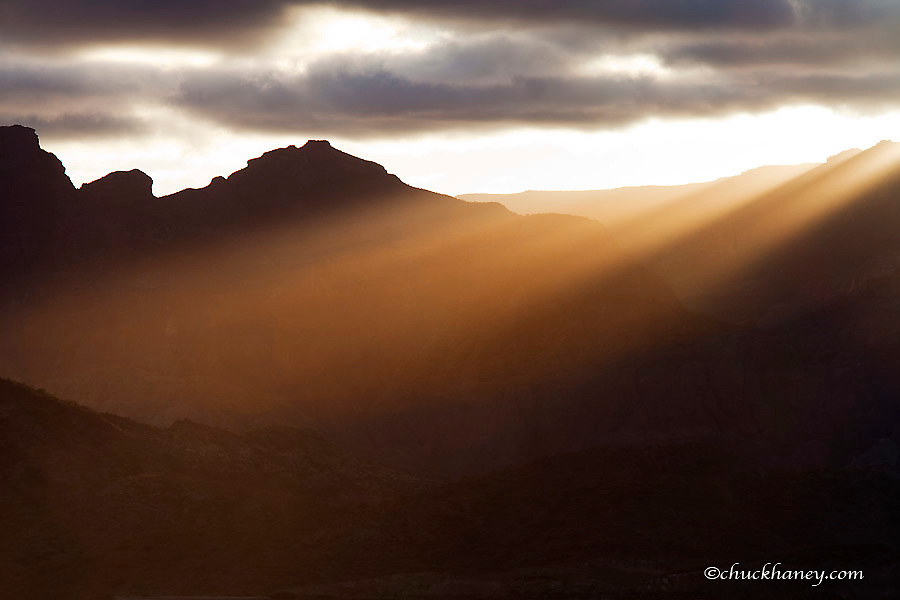 Sunset rays pour over the Sierra de la Giganta mountain range near Loreto Mexico