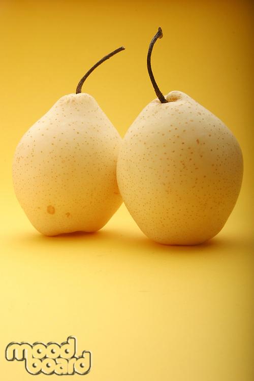 Two white pears - studio shot