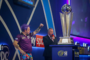 WINNER Peter Wright (Scotland) celebrates after his win over Michael Van Gerwen (Netherlands) (not in picture), John McDonald, in the final of the PDC William Hill World Darts Championship at Alexandra Palace, London, United Kingdom on 1 January 2020.