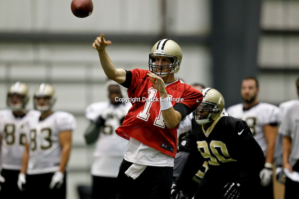 July 27, 2012; Metairie, LA, USA; New Orleans Saints quarterback Luke McKnown (11) during training camp at the team's indoor practice facility. Mandatory Credit: Derick E. Hingle-US PRESSWIRE