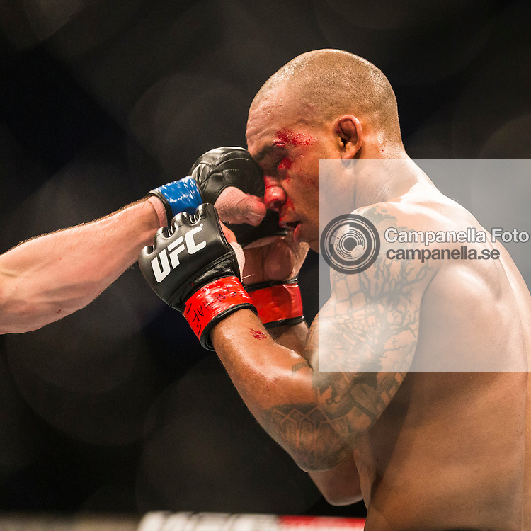 STOCKHOLM, SWEDEN - JANUARY 24: Nico Musoke of Sweden receives a punch to the face from Albert Tumenov of Russia (not pictured) during the UFC Fight Night event at Tele2 Arena on January 24, 2015 in Stockholm, Sweden. (Photo by Michael Campanella/Zuffa LLC/Zuffa LLC via Getty Images)