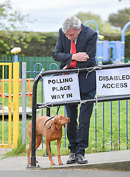 Scottish Labour leader Richard Leonard arrives at his local polling station with his dog Copper to cast his vote in the European elections.<br /> <br /> © Dave Johnston / EEm