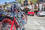 Custom Motorcycle Parked in Downtown Huntington Beach California