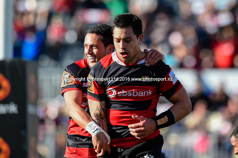 Ere Enari of Canterbury celebrates Rob Thompson try during the Mitre 10 Cup Rugby Match, Canterbury V Hawkes Bay, AMI Stadium, Christchurch, New Zealand. 11th September 2016. Copyright Photo: John Davidson / www.photosport.nz