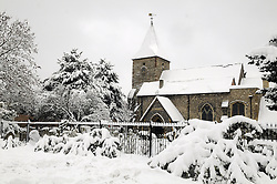 © under license to London News Pictures.2.12.2010  St Mary's Church in St Mary's Cray, Kent today (Thurs) Snow in Orpington. Picture credit should read Grant Falvey/London News Pictures