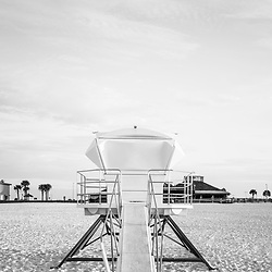 Pensacola Beach Florida lifeguard tower two and Casino Beach retro photo. Pensacola Beach is on Santa Rosa Island in the Emerald Coast area of the Southeastern United States of America. Photo is vertical and high resolution. Copyright ⓒ 2018 Paul Velgos with All Rights Reserved.
