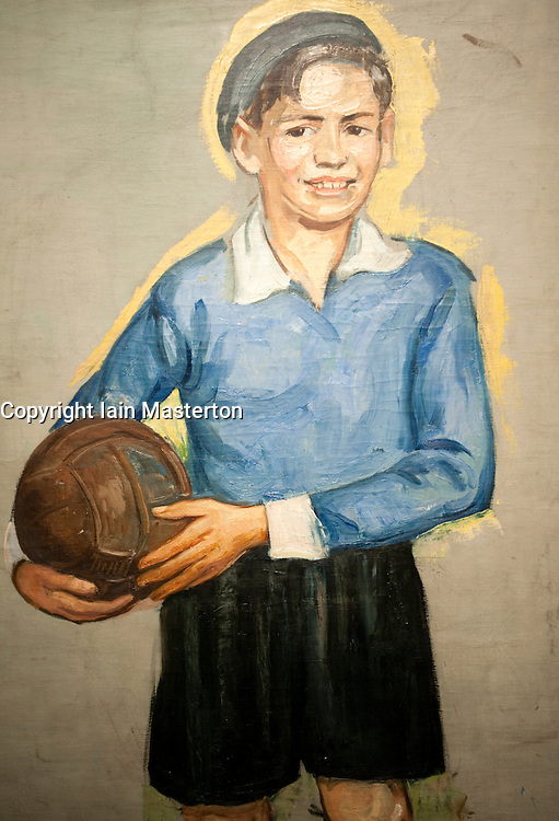 Jewish Boy with Soccer Ball by Erwin Singer at Judisches or Jewish Museum in Kreuzberg central Berlin Germany