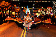 A Bat Bicycle at the Grand Procession on New Year's Eve in Austin Texas as part of the First Night 2009 celebration, December 31, 2008. First Night is an annual celebration of the arts  held on New Year's Eve in Austin Texas.