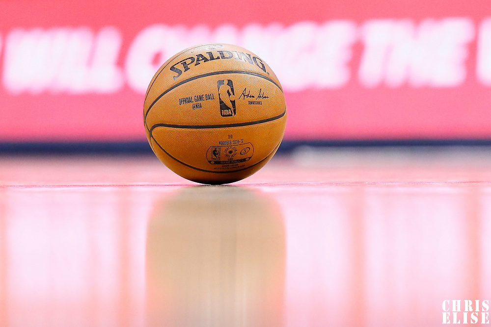 10 March 2017: A Spalding ball lays on the court during the Denver Nuggets 119-99 victory over the Boston Celtics, at the Pepsi Center, Denver, Colorado, USA.