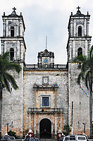 View of the spanish colonial style chuch of valladolid yucatan mexico