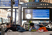 Refugees at Budapest Railway Station. Thousands of mostly Syrian refugees are standed at Budapest Railway Station because the Hungarian Government has cancelled all international railway services.