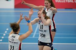 20190424 NED: Sliedrecht Sport - VC Sneek: Sliedrecht<br /> Ana Rekar (11) of Sliedrecht Sport, Carlijn Ghijssen - Jans (10) of Sliedrecht Sport <br /> ©2019-FotoHoogendoorn.nl / Pim Waslander