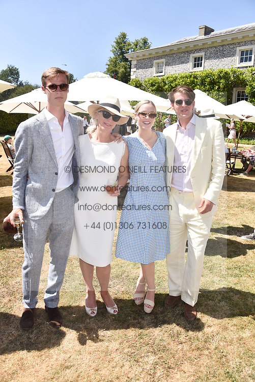 William Gordon-Lennox, the Duchess of Richmond, Lady Eloise Gordon-Lennox and George Hill at the 'Cartier Style et Luxe' enclosure during the Goodwood Festival of Speed, Goodwood House, West Sussex, England. 15 July 2018.