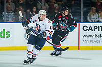 KELOWNA, CANADA - SEPTEMBER 22: Brodi Stuart #17 of the Kamloops Blazers skates against the Kelowna Rockets  on September 22, 2018 at Prospera Place in Kelowna, British Columbia, Canada.  (Photo by Marissa Baecker/Shoot the Breeze)  *** Local Caption ***