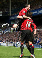 Photo: Paul Thomas.<br /> Everton v Manchester United. The Barclays Premiership. 28/04/2007.<br /> <br /> Wayne Rooney and Man Utd celebrate the Phil Neville own goal.