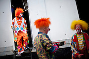 "Cole Bros. clowns prepare for a show during a stop in Frederick Maryland. The Cole Bros. Circus of the Stars is celebrating its 127th season and bills itself as the ""World's Largest Circus Under The Big Top."""