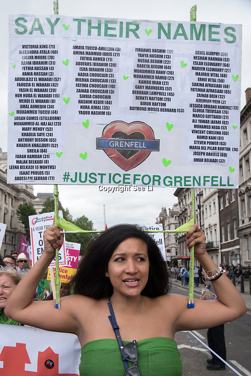 Hundreds of people marched down Whitehall in central London on Saturday to demand justice for the 72 victims of the Grenfell Tower fire.<br /> <br /> Thursday marked one year since the deadly blaze shocked Great Britain.<br /> <br /> The fire has posed serious questions about both building safety in the UK and the British government's initial response to the tragedy.