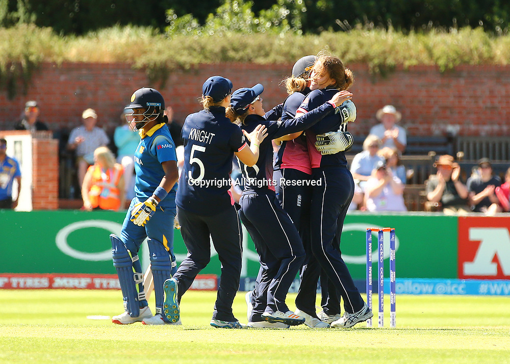 July 2nd 2017, The Cooper Associates County Ground, Taunton, England; The ICC Womens World Cup; England Women versus Sri Lanka Women; Natalie Scriver of England celebrates the wicket of Chamari Athapaththu of Sri Lanka with Sarah Taylor and Heather Knight of England, caught behind by Taylor