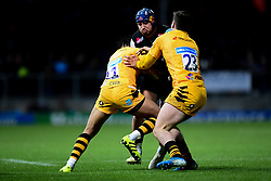 Jack Nowell of Exeter Chiefs is tackled by Marcus Watson of Wasps and Sam Spink of Wasps - Mandatory by-line: Ryan Hiscott/JMP - 30/11/2019 - RUGBY - Sandy Park - Exeter, England - Exeter Chiefs v Wasps - Gallagher Premiership Rugby