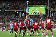Sitaleki Timani wins a lineout. Queensland Reds v NSW Waratahs. Investec Super Rugby Round 10 Match, 24 April 2011. Suncorp Stadium, Brisbane, Australia. Reds won 19-15. Photo: Clay Cross / photosport.co.nz