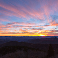 Beautiful sunset skies from the Cowee Mountains Overlook, on the Blue Ridge Parkway, near Brevard, North Carolina