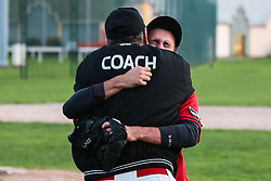 Nicolas Dejean embraces his coach, André LaBelle, after winning the Playoff win agaisnt the Ermont Expos, 2013.