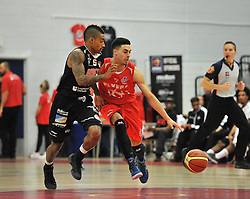 Bristol Flyers' Roy Owen is challenged for the ball - Photo mandatory by-line: Dougie Allward/JMP - Mobile: 07966 386802 - 10/01/2015 - SPORT - basketball - Bristol - SGS Wise Campus - Bristol Flyers v Leicester Riders - British Basketball League