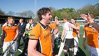 AMSTELVEEN -   Robert van de Horst van OZ    na de beslissende finalewedstrijd om het Nederlands kampioenschap hockey tussen de mannen van Amsterdam en Oranje Zwart (2-3).  COPYRIGHT KOEN SUYK