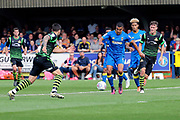 AFC Wimbledon striker Kweshi Appiah (9) dribbling and on his way to score during the EFL Sky Bet League 1 match between AFC Wimbledon and Doncaster Rovers at the Cherry Red Records Stadium, Kingston, England on 26 August 2017. Photo by Matthew Redman.