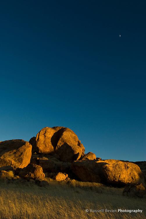 Large rock formation at sunrise, Mirabib, Namibia