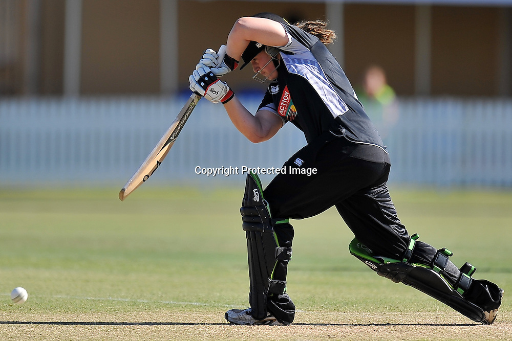 Frances Mackay plays firmly into the off side for the White Ferns during action in Game 6 (ODI) of the Rose Bowl Trophy Cricket played between Australia and New Zealand at Alan Border Field in Brisbane (Australia) ~ Monday 14May 2011 ~ Photo : Steven Hight (AURA Images) / Photosport