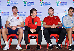 NANNING, CHINA - Saturday, March 24, 2018: Czech Republic's Lukáš Masopust with Wales' Harry Wilson and Sam Vokes during a meet & greet event at the Nanning Wanda Mall during the 2018 Gree China Cup International Football Championship. (Pic by David Rawcliffe/Propaganda)