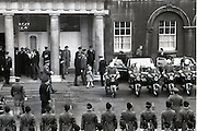 President Patrick Hillery Inauguration at Dublin Castle .03/12/1976.12/03/1976.3rd December 1976.The Presidents guard of honour and motorcade wait outside Dublin Castle after the inauguration.