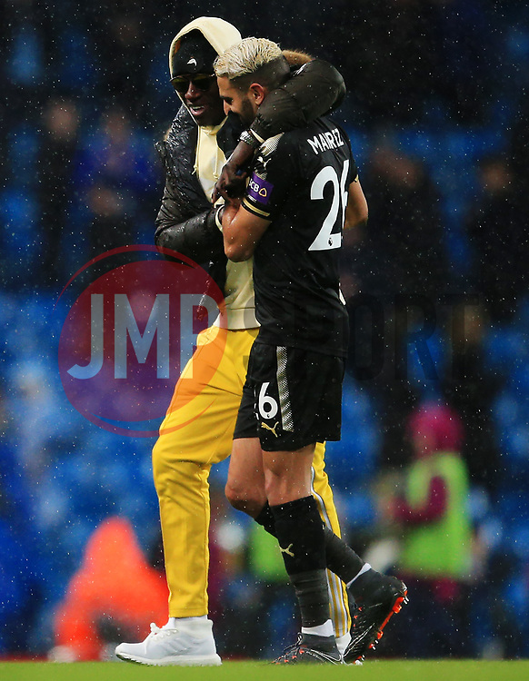 Manchester City's Ben Mendy consoles Riyad Mahrez of Leicester City at full time - Mandatory by-line: Matt McNulty/JMP - 10/02/2018 - FOOTBALL - Etihad Stadium - Manchester, England - Manchester City v Leicester City - Premier League
