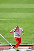Great Britain, London - 2017 August 05: Jakub Szyszkowski (Slask Wroclaw) from Poland competes in men&rsquo;s shot put qualification during IAAF World Championships London 2017 Day 2 at London Stadium on August 05, 2017 in London, Great Britain.<br /> <br /> Mandatory credit:<br /> Photo by &copy; Adam Nurkiewicz<br /> <br /> Adam Nurkiewicz declares that he has no rights to the image of people at the photographs of his authorship.<br /> <br /> Picture also available in RAW (NEF) or TIFF format on special request.<br /> <br /> Any editorial, commercial or promotional use requires written permission from the author of image.
