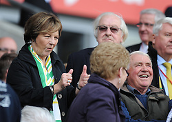 Deli Smith puts her thumbs up.  - Photo mandatory by-line: Alex James/JMP - Mobile: 07966 386802 30/08/2014 - SPORT - FOOTBALL - Cardiff - Cardiff City stadium - Cardiff City  v Norwich City - Barclays Premier League