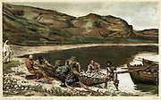 The second miraculous draught of fishes. St John 21. From JJ Tissot 'The Life of Our Saviour Jesus Christ' c1890. Oleograph