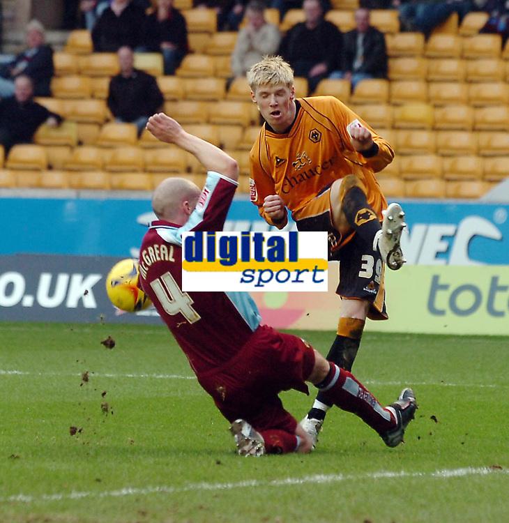 Photo: Kevin Poolman.<br />Wolverhampton Wanderers v Burnley. Coca Cola Championship. 17/02/2007. Andy Keogh of Wolves has his shot blocked by John McGreal of Burnley.