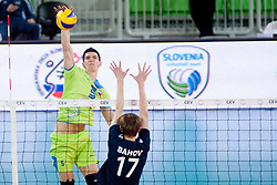 Alen Sket #5 of Slovenia during volleyball match of FIVB Men's Volleyball World Championship 2014 Qualifications between National teams of Slovenia and Moldova in pool B on May 25, 2013 in Arena Stozice, Ljubljana, Slovenia. (Photo By Urban Urbanc / Sportida)