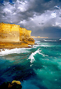 &quot;Golden Cliffs&quot; Situated in the Port Campbell Nation Park.<br /> This rugged stretch of Coastline gets battered by extremely large surf.<br /> The cliffs have semi regular falls ,creating &quot;stacks &quot; such as the 12 Apostles